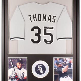 online store 30d05 a4bf0 Frank Thomas Signed White Sox 34x42 Custom Framed Jersey ...