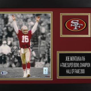 Joe Montana Signed 49ers 14x18.5 Custom Framed Photo Display (Beckett