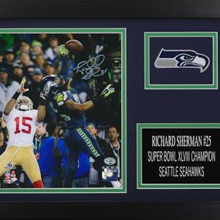 Richard Sherman Signed Seahawks 14x18.5 Custom Framed Photo Display