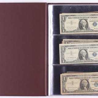 1935 1957 1 one dollar blue seal silver certificates with portfolio
