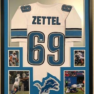 "Anthony Zettel Signed 34x42 Custom Framed Jersey Inscribed ""Go Lions! (JSA COA)"