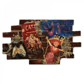 "Tom Pergola - ""City Wall"" 42x24 Signed Original Mixed Media on Wood #1/1"
