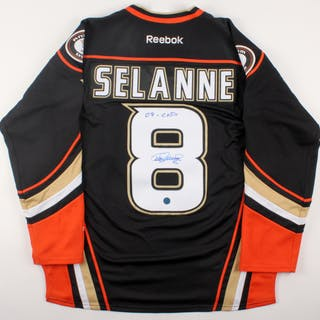 the best attitude 71200 388bd Teemu Selanne Signed Ducks Alternate Captain Jersey ...