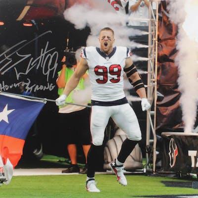 "J. J. Watt Signed Houston Texans 16x20 Photo Inscribed ""Houston Strong"""