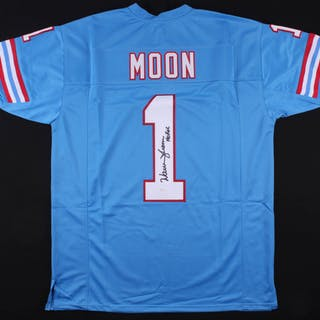 0f7b582ab Warren Moon Signed Oilers Jersey Inscribed