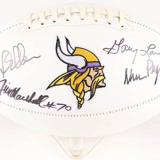 """Minnesota Vikings """"Purple People Eaters"""" Logo Football Signed by (4)"""