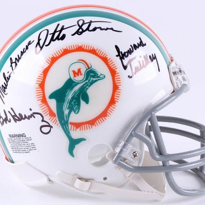 1972 Miami Dolphins Mini-Helmet Signed by (7) with Marv Fleming, Bob