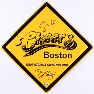 "George Wendt & John Ratzenberger Signed ""Cheers"" 12x12 Street Sign"