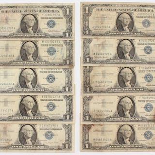 lot of 10 1957 u s 1 one dollar blue seal silver certificate