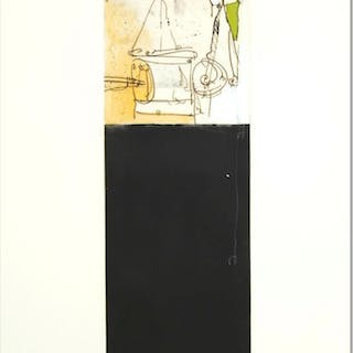 """Babak Emanuel Signed """"Rendition Diary I"""" 8x22 One-of-a-Kind Monoprint #1/1"""