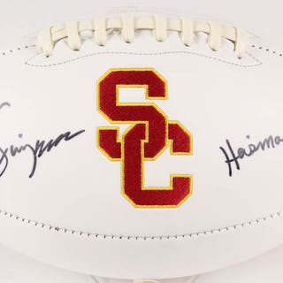 "O. J. Simpson Signed USC Trojans Logo Football Inscribed ""Heisman"