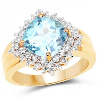 14K Yellow Gold Plated 4.33 Carat Genuine Swiss Blue Topaz & White