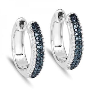 fee3c2733 0.68 Carat Genuine Blue Diamond & White Diamond .925 Sterling Silver  Earrings