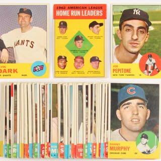 Lot Of 49 1963 Topps Baseball Cards With 183 Joe Pepitone 258