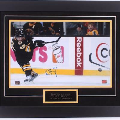 David Krejci Signed Bruins 20.5x25.5 Custom Framed Photo Display (Krejci