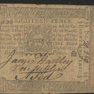 1773 Eighteen Pence Pennsylvania Colonial Currency Note