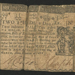 1770 Two Thirds of a Dollar Maryland Colonial Currency Note