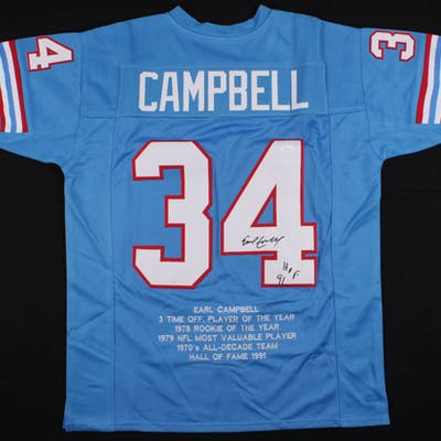 Earl Campbell Signed Houston Oilers Career Highlight Stat Jersey Inscribed