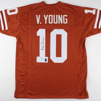 """Vince Young Signed Jersey Inscribed """"2005 Nat'l Champs"""" (Beckett COA"""