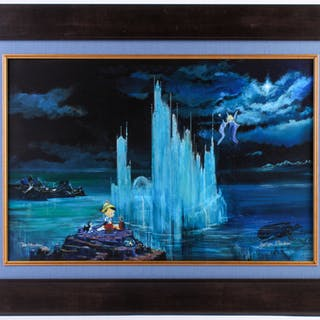 """Peter & Harrison Ellenshaw Signed """"Blue Castle"""" LE 27x35 Framed Giclee"""