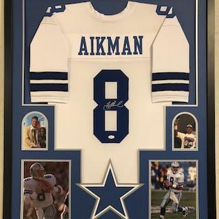 cfafc374ee2 Troy Aikman Signed Cowboys 34x42 Custom Framed Jersey Display (JSA COA)