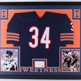 6ff5fa49fad Walter Payton Signed Bears 35x43 Custom Framed Cut Display with Jersey –  Current sales – Barnebys.com