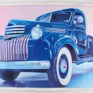 "Frank Karper Signed ""Chevy 1948"" 34x49 Original Acrylic Painting on"