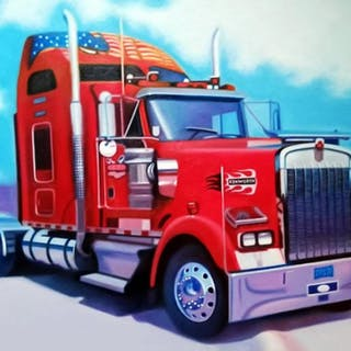 "Frank Karper Signed ""Classic Kenworth"" 34x49 Original Acrylic Painting"