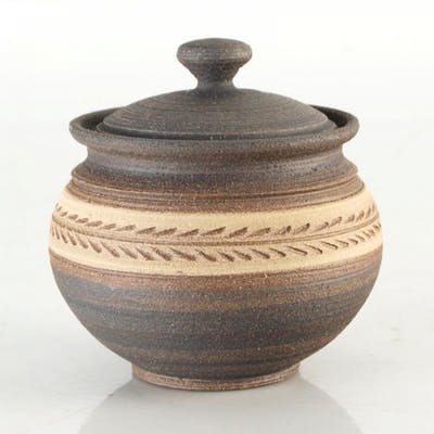 Eugenijus Tamosiunas Signed Hand Made Ceramic Jar with Lid