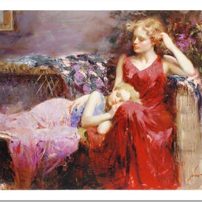 "Pino Signed ""A Mother's Love"" Limited Edition 16x12 Giclee on Canvas"