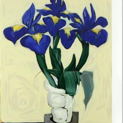 "Brenda Barnum Signed ""Irises"" Limited Edition 36x46 Serigraph"