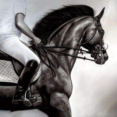 "Oscar Alikos Signed ""The Black Stallion"" 26.5x35.5 Original Oil Painting"