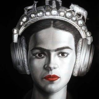 "Oscar Alikos Signed ""Frida Through Time"" 27x35 Original Oil Painting"
