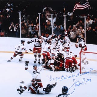 "Jim Craig Signed Team USA 16x20 Photo Inscribed ""Do You Believe In"