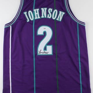 new arrival edf5a 7f666 Larry Johnson Signed Charlotte Hornets Jersey (PSA COA ...