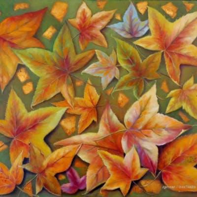 "Adriana Constanza Signed ""Autumn"" 23x28 Original Oil Painting on Canvas"
