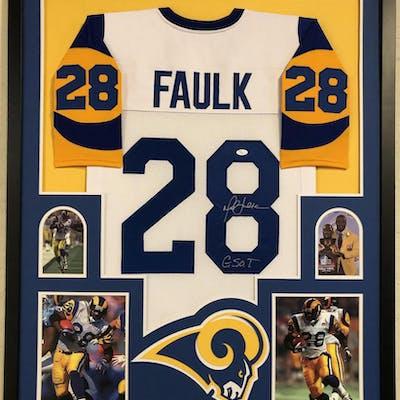 best website d6a8c 7bb6e Marshall Faulk Signed 35x43 Custom Framed Jersey Inscribed ...