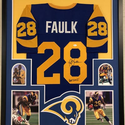 Marshall Faulk Signed Los Angeles Rams 35x43 Custom Framed Jersey