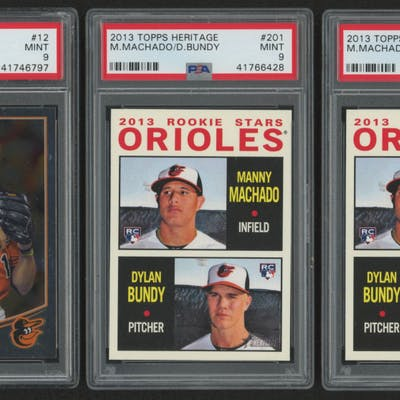 Lot of (3) PSA Graded 9 Manny Machado Baseball Cards with (1) 2013