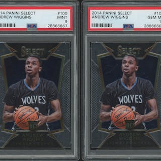 Lot of (2) PSA Graded 9 & 10 2014-15 Select #100 Andrew Wiggins RC