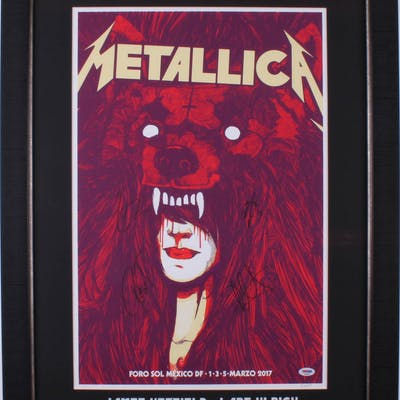Metallica 24.25x32.25 Custom Framed Poster Display Band-Signed by