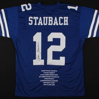 new product e92d5 7a665 Roger Staubach Signed Dallas Cowboys Career Highlight Stat ...