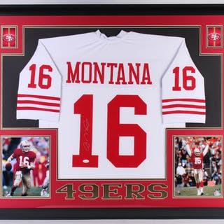 Joe Montana Signed San Francisco 49ers 35x43 Custom Framed Jersey – Current  sales – Barnebys.com 70eeef474