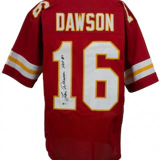 online store 0dfb9 ec715 Len Dawson Signed Kansas City Chiefs Jersey Inscribed
