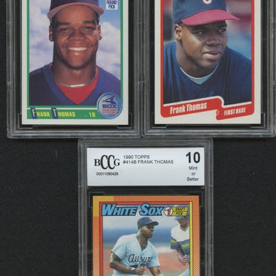 Lot Of 3 Bccg Graded 10 Frank Thomas Rookie Baseball Cards With