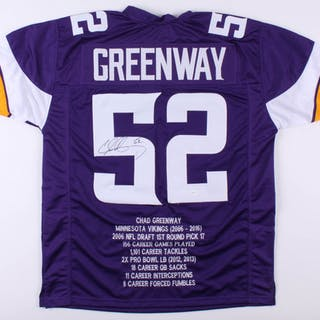 cheap for discount 8e6cb 3d959 Chad Greenway Signed Minnesota Vikings Career Highlight Stat ...