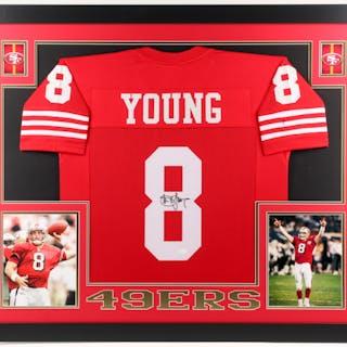 6162f487749 Steve Young Signed San Francisco 49ers 35x43 Custom Framed Jersey – Current  sales – Barnebys.com
