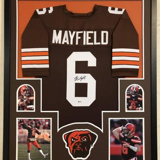 24069d171 Baker Mayfield Signed Cleveland Browns 34x42 Custom Framed Jersey (Beckett  COA) – Current sales – Barnebys.com