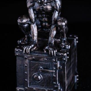 13 oz Antique Finish Godric the Gargoyle Silver Statue (New, Box + CoA)