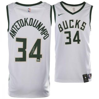 ae75eb8ebd7 New! Giannis Antetokounmpo Signed Milwaukee Bucks Nike White Jersey  (Fanatics Pristine Auction